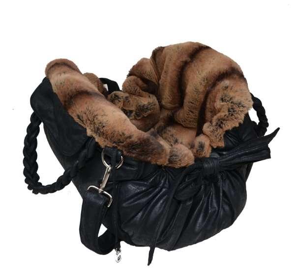 Designer Hundetasche Monaco - Black-Brown