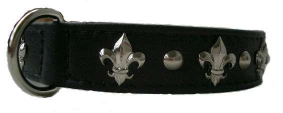 Hundehalsband Fleur de Lis Black