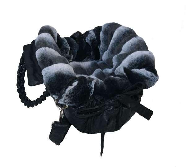 Designer Hundetasche Monaco - Black - Black/Grey Chinchilla