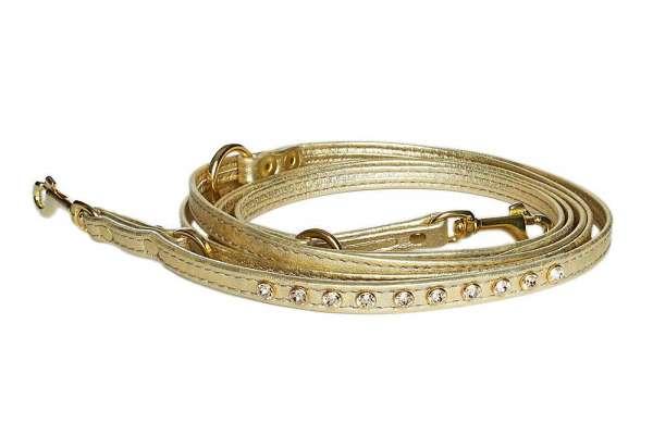 Verstellbare Führleine Gold mit Swarovski-Elements