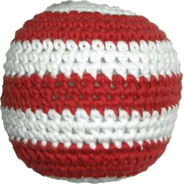 Hundespielzeug Handgehäkelter Ball - rot-weiss