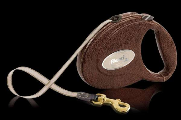 Flexi Leine Leder - Braun 5 Meter - Luxury Edition