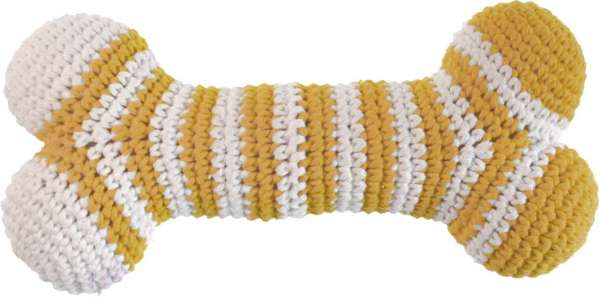 Hundespielzeug Handgehäkelter Knochen - Gelb-Weiss