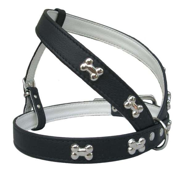 Hundegeschirr Silver Bone Black