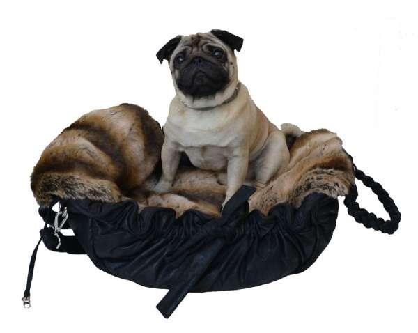 Luxus Hundetasche Monaco Black - Chinchilla Brown mit herausnehmbarer Webpelzdecke
