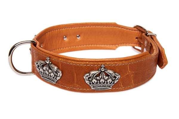 Hundehalsband Crown Croc - Cognac-Silber