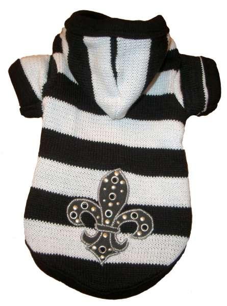 Hunde-Sweater Fleur de Lis Black & White