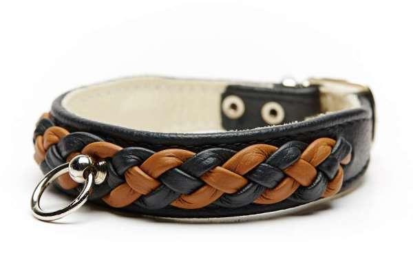 Hundehalsband Chester Black-Cognac