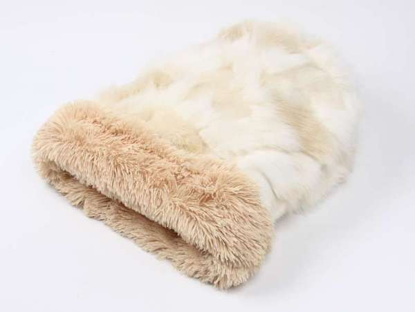 Luxus Hundedecke Cuddle Cup Bed Luxury Cream Fox - Camel Shag Luxury Edition