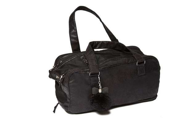 Hundetasche St. Tropez Vintage Black Chrystal Bow Inlay Black-Black inklusiv Carrier Blanket
