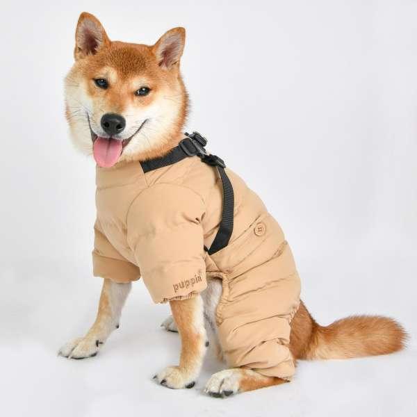 Hunde Overall Soft Onesie mit integrierten Hundegeschirr - Beige