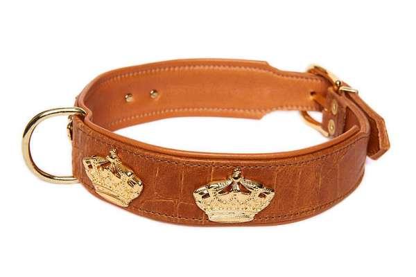 Hundehalsband Crown Croc - Cognac-Gold