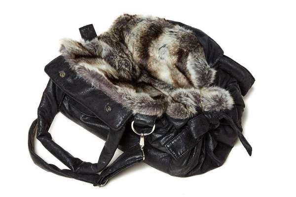 TG&L Hundetasche Bellagio - Chinchilla Black-Silver-Vintage Black