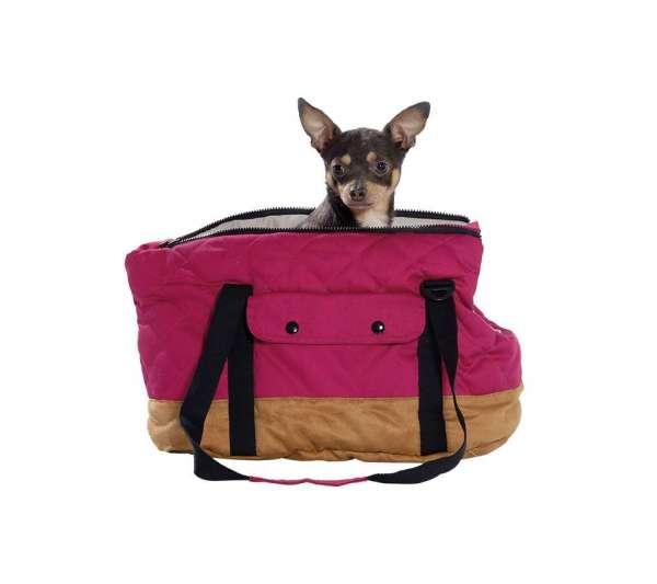 Hundetasche Bellavista - Himbeere-Camel