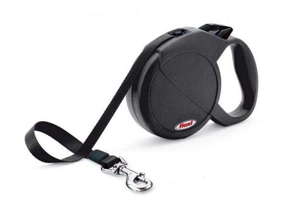 Schwarze Flexi Leine mit Gurtband bis 60kg