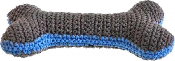 Hundespielzeug Handgehäkelter Knochen - Delfingrau-Azurblau