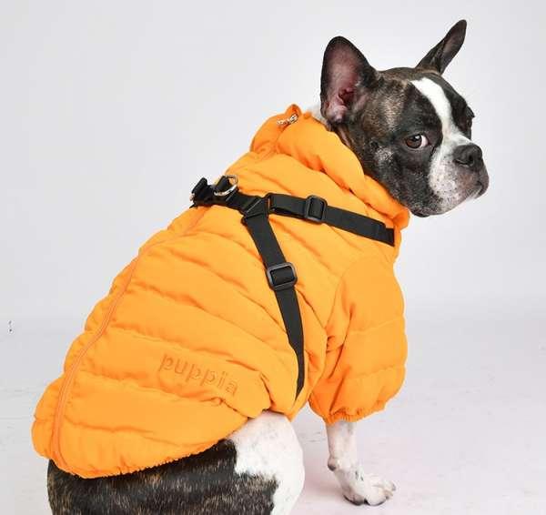 Hundemantel Soft Jumper mit integrierten Hundegeschirr - Orange