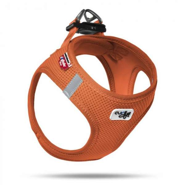 Curli Step In Hundegeschirr Air Mesh - Orange inkl. Dogfinder