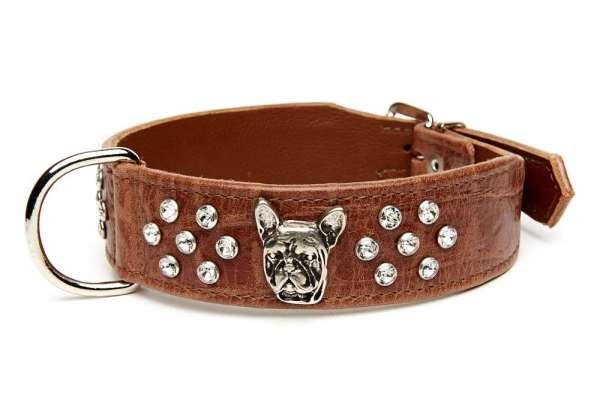 Französisch Bulldog Halsband Deluxe - Braun Croc
