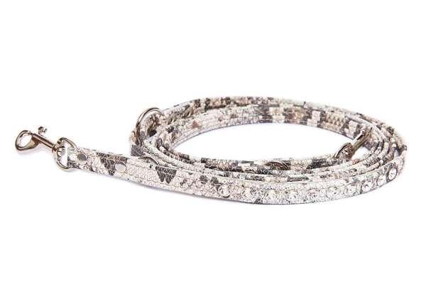 Verstellbare Führleine Snake-Crema mit klaren Swarovski-Kristallen