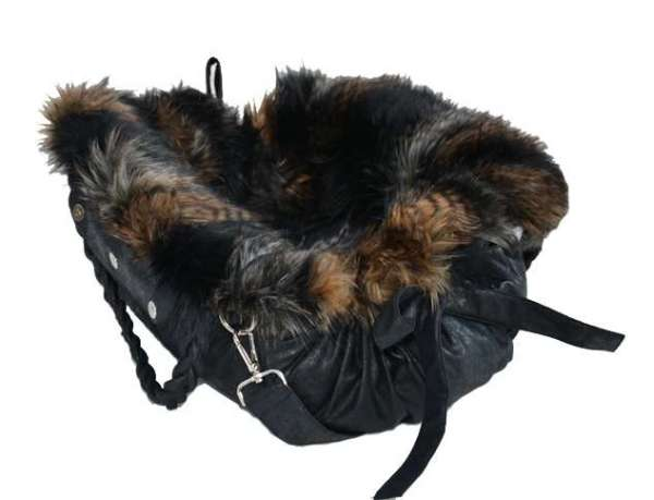 Designer Hundetasche Ampezzo Black - Brown Fox