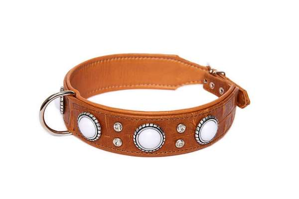 Hundehalsband Palma Deluxe Croc - Cognac-White