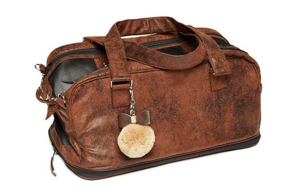 Hundetasche St. Tropez - Vintage Brown Chrystal Bow inklusiv Carrier Blanket