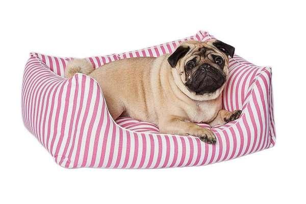 Hundebett Classic Stripes - Pink-Weiss