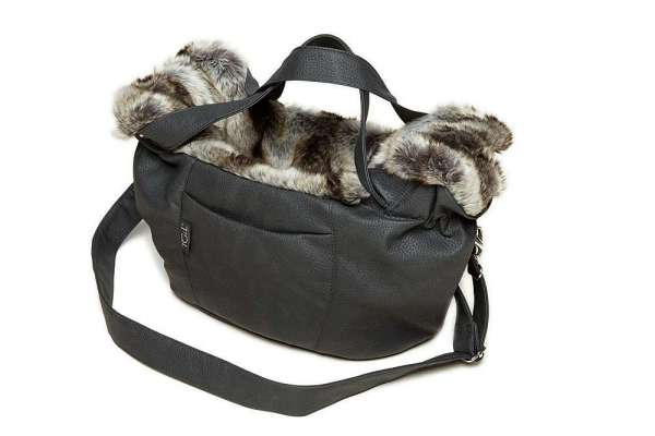 Hundetasche Monte Carlo - Nubuk Grey-Chinchilla Black