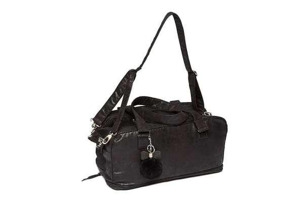 Hundetasche St. Tropez Deluxe Vintage Black Chrystal Bow Backl-Creme inkl. Strap