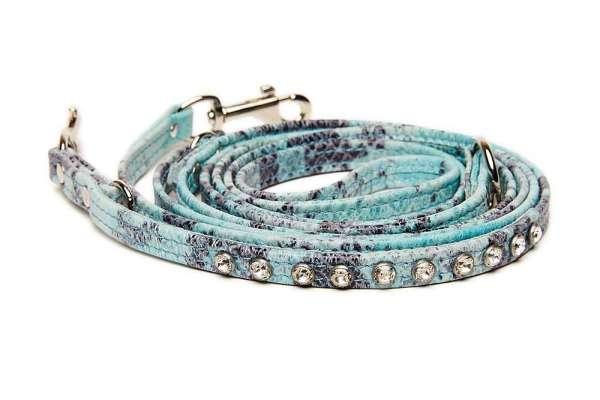 Verstellbare Hundeleine Ocean Snake mit Swarovski-Kristallen