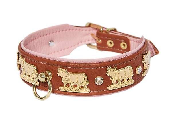 Hundehalsband Lucky Muh - Rehbraun-Rosa