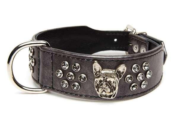 Französisch Bulldog Halsband Deluxe - Anthrazit-Smokey