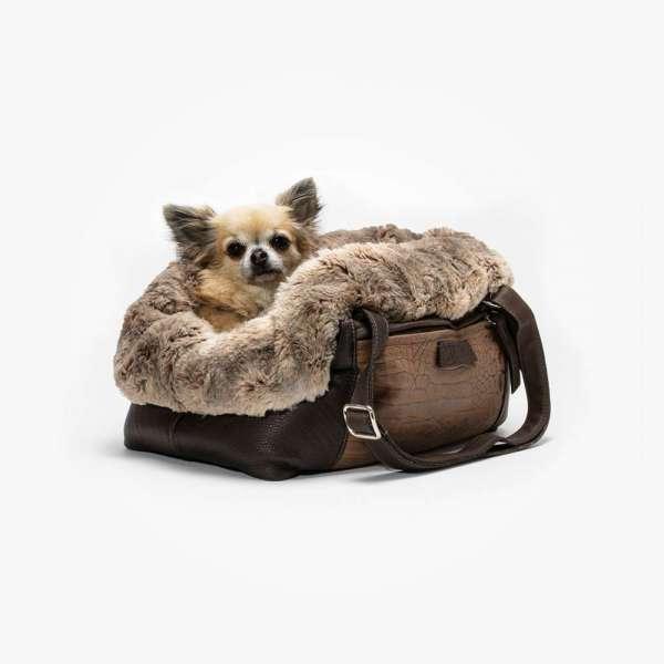 Hundetasche Ophelia Croco Edition - Dunkelbraun