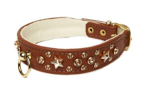 Hundehalsband Miami Star - Rehbraun-Topaz