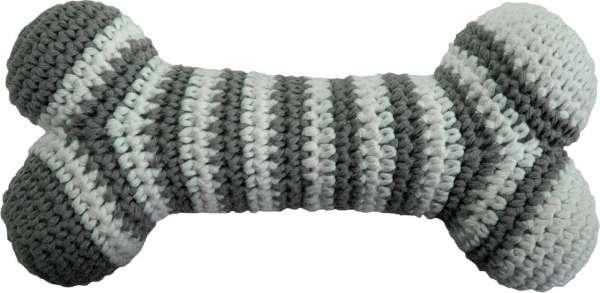 Hundespielzeug Handgehäkelter Spielknochen - Grau-Weiss