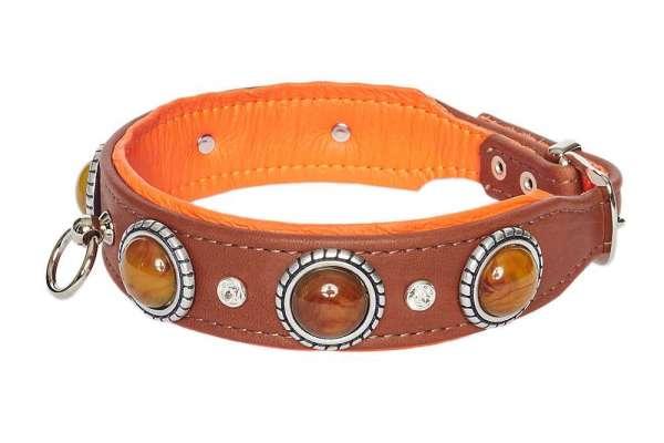 Hundehalsband Ambra - Rehbraun-Orange