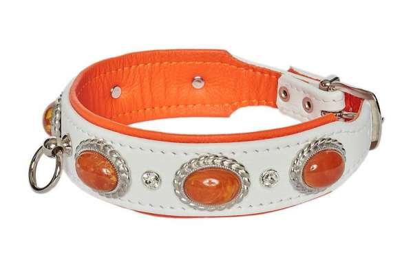Hundehalsband Ibiza - Weiss-Orange