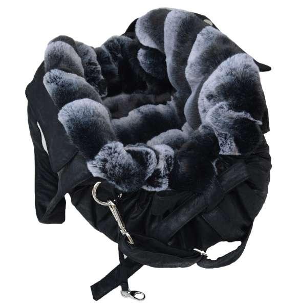 Designer Hundetasche Monaco - Black - Black/White Chinchilla