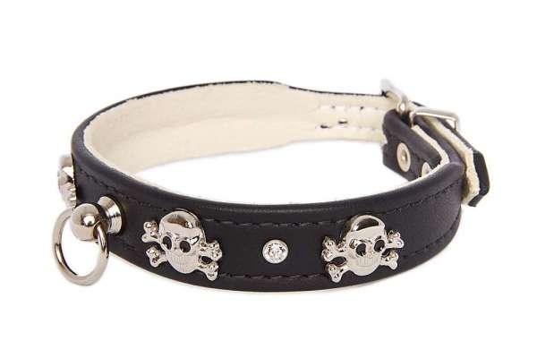 Elchleder Hundehalsband Pirat - Black-Clear