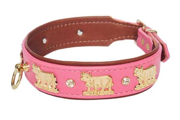 Hundehalsband Lucky Muh - Pink-Rehbraun