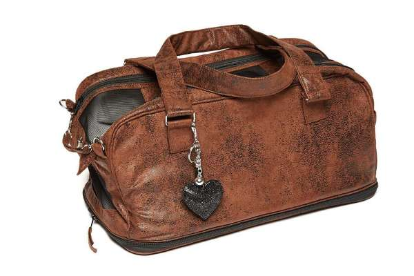 Hundetasche St. Tropez Vintage Brown LOVE HEART inkl. Carrier Blanket