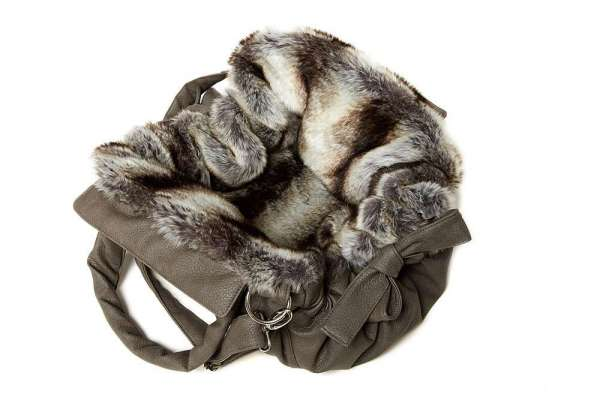 TG&L Hundetasche Bellagio - Nubuk Greyge-Chinchilla Black