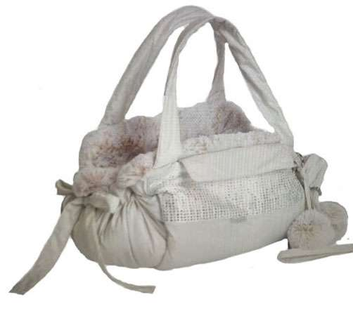 Luxus Hundetasche Manhattan Deluxe - White mit Swarovski-Elements veredelt