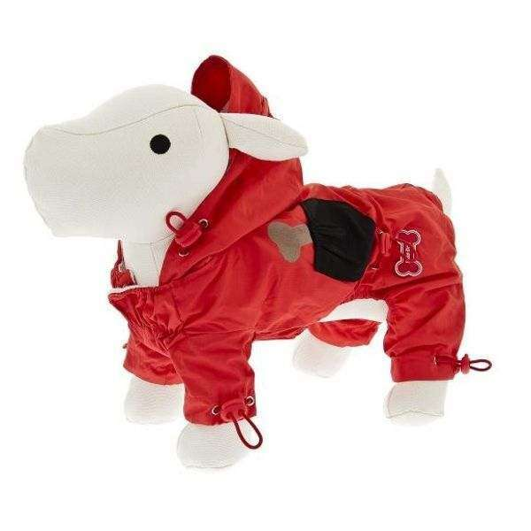 Hunde-Regenoverall Happy - Rot