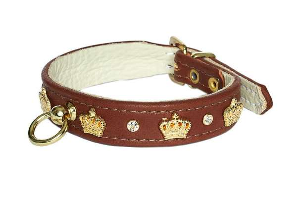 Hundehalsband Crown - Rehbraun