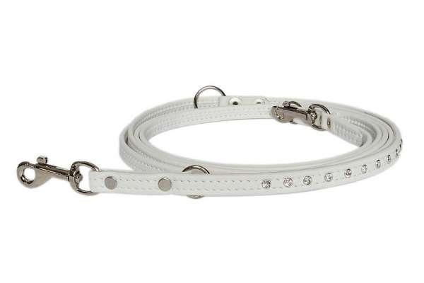 Verstellbare Führleine Snowwhite-Silver mit klaren Swarovski-Elements