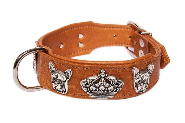 Französisch Bulldog Halsband Bully Deluxe Croc - Cognac