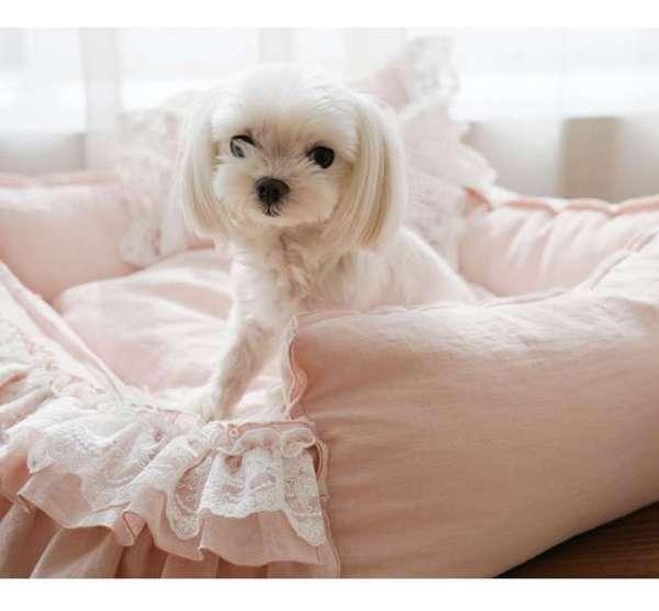 Designer Hundebett Luxury Linen - Rosa