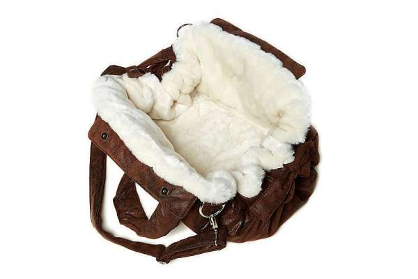 Hundetasche Bellagio - Vintage Brown-Nerz Creme